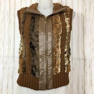 Peter Nygard Brown Faux Fur Knit Sequined Vest